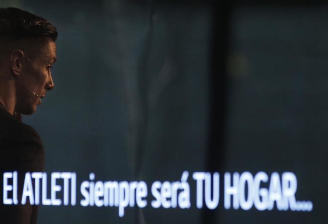 Fernando Torres, durante el acto de LG en el que anunció su marcha del Atlético.
