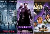 Los carteles de Origen, Matrix y La guerra de las galaxias.