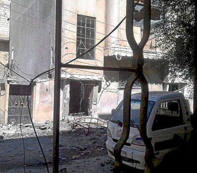 El centro de prensa de Homs, tras el ataque en el que perdieron la vida Marie Colvin y Remi Ochlik.