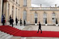 El presidente francés, Emmanuel Macron, hoy, en el Palacio del Elíseo en París.