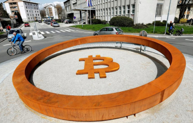 Monumento dedicado al bitcoin en Eslovenia.