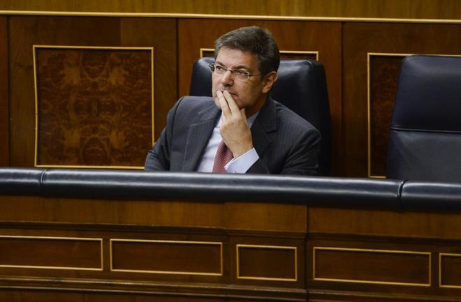 El ministro de Justicia, en la sesión de control celebrada este miércoles en el Congreso.