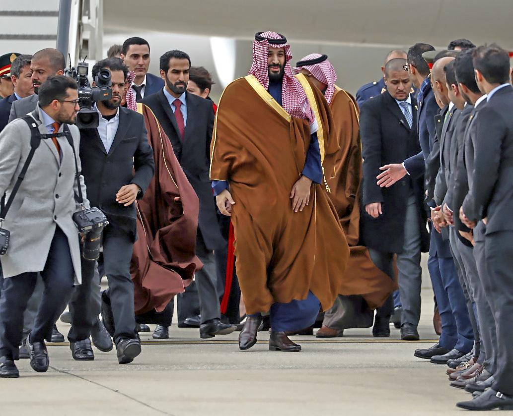 El príncipe heredero de Arabia Saudí, Mohammed bin Salman, ayer, a...