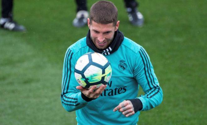 Sergio Ramos, durante el entrenamiento del sábado del Madrid en...