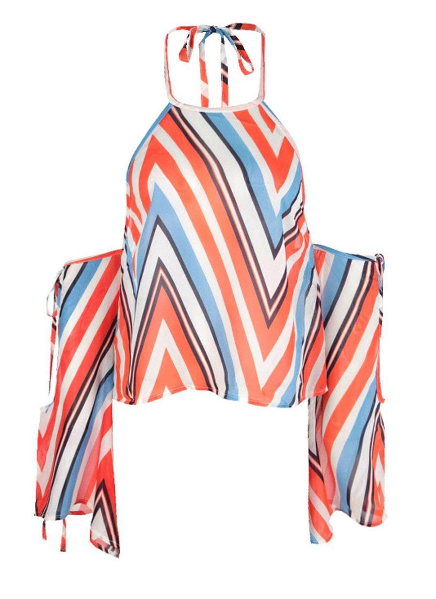 Estampado a rayas diagonales multicolor anudado al cuello que deja los...