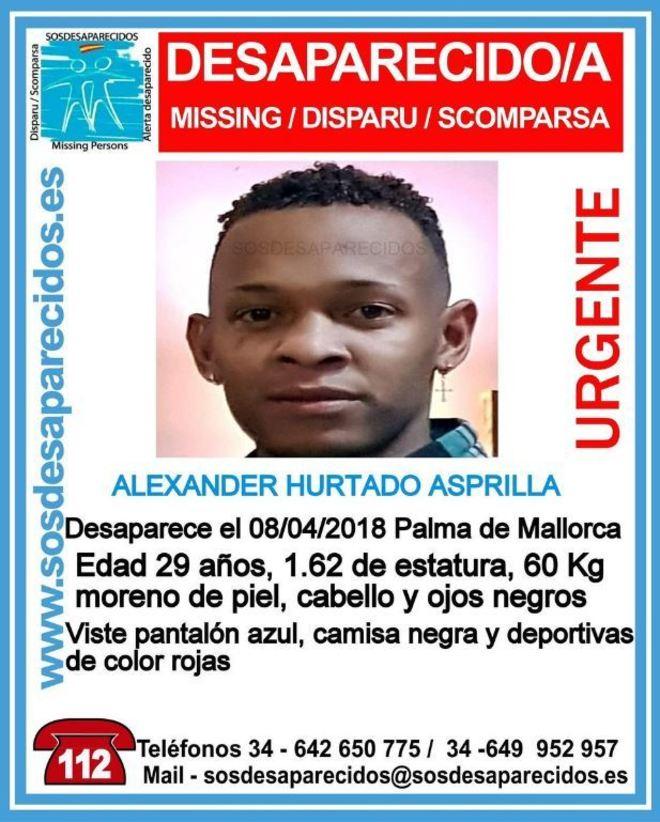 Cartel de búsqueda de Alexander Hurtado.