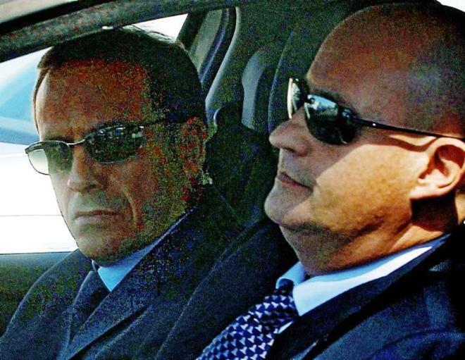El inspector jefe Ballesteros y el comisario Pamies, tras prestar declaración en la Audiencia Nacional.