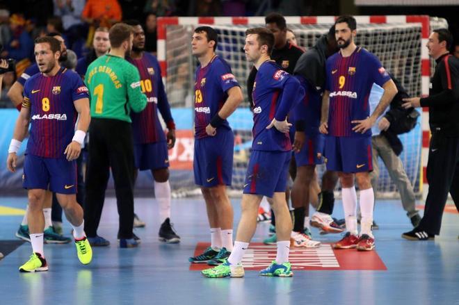 Los jugadores del FC Barcelona Lassa, en un partido de esta temporada