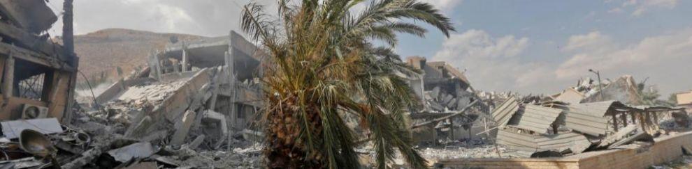Estado del Centro de Investigación Científica en el norte de Damasco...