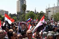 Manifestación en apoyo del presidente sirio, Bashar Asad, en Alepo.