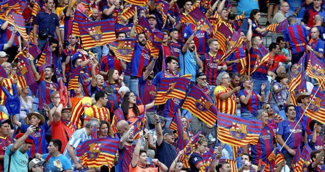 Aficionados del Barcelona, el 27 de mayo del pasado año, en la final...