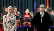 Cristina Cifuents y Fernando Suárez, el anterior rector de la...