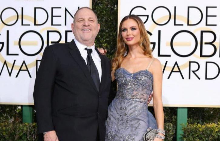 Harvey Weinstein con la diseñadora Georgina Chapmanen los Globos de Oro de 2017.