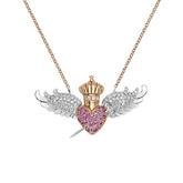 Colgante con forma de corazón y alas hecho en oro rosa con diamantes...