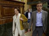Íñigo Errejón y Carolina Bescansa, en el Congreso de Diputados el...