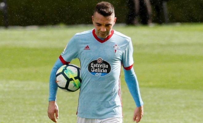 Aspas, tras anotar su 'hat-trick' ante el Sevilla en Balaídos.