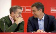 El secretario general de los socialistas madrileños, José Manuel Franco, y el secretario general del PSOE, Pedro Sánchez