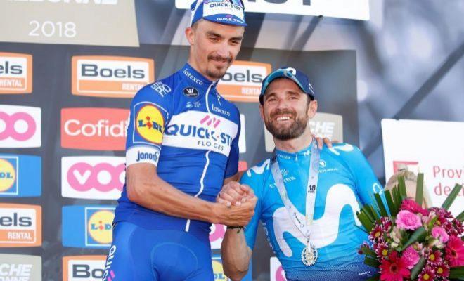 Alaphilippe y Valverde, en el podium de la Flecha Valona.
