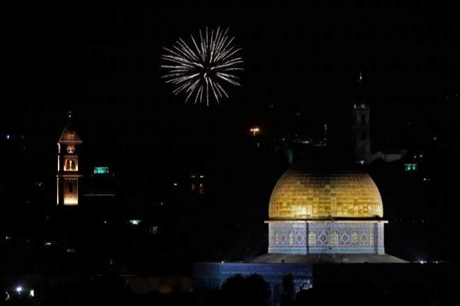 El espectáculo pirotécnico ha alumbrado el cielo de Jerusalén...