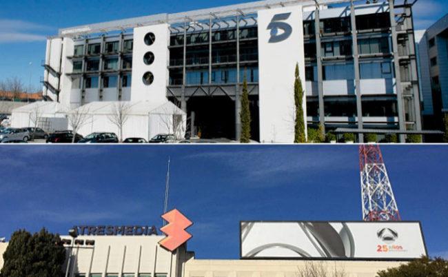 Sedes de Mediaset España y Atresmedia.