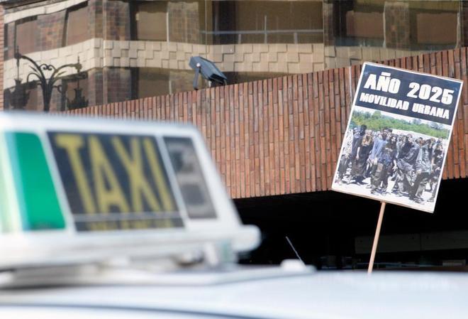 Manifestación de taxistas en Valencia, el pasado martes.