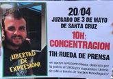 Cartel difundido en las redes sociales en apoyo al detenido, Roberto...