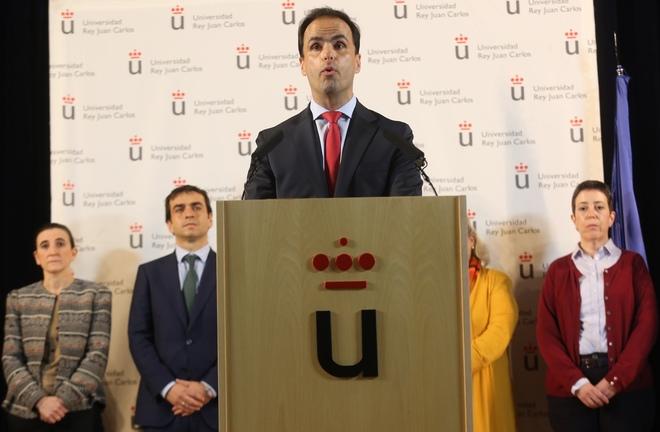 El rector de la URJC, Javier Ramos, durante una rueda de prensa sobre...