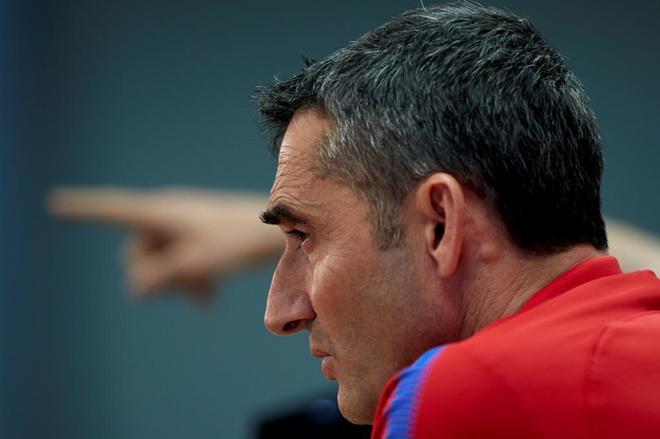 Ernesto Valverde, técnico del Barça, en la previa a la final de Copa.