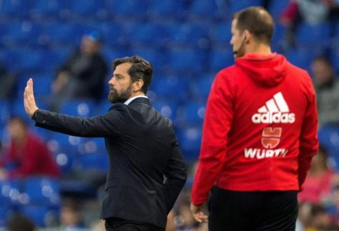 Quique Sánchez Flores durante el partido ante el Eibar.