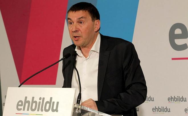 Arnaldo Otegi, coordinador general de EH Bildu, en rueda de prensa,...