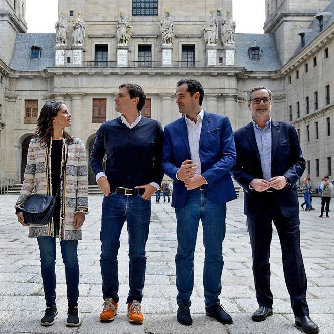 Arrimadas, Rivera, Aguado y Villegas, ayer, en El Escorial.
