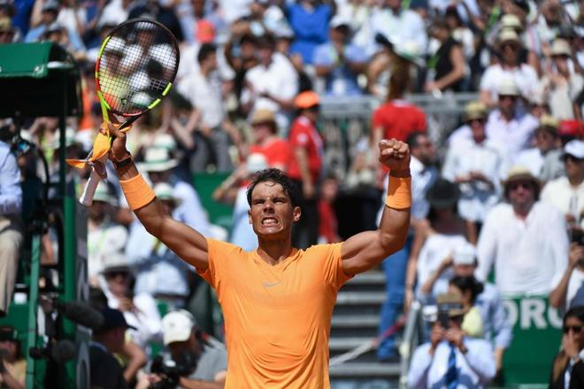 Rafa Nadal celebra su triunfo en las semifinales de Montecarlo.