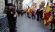 Agentes de la Policía Nacional durante una manifestación en...