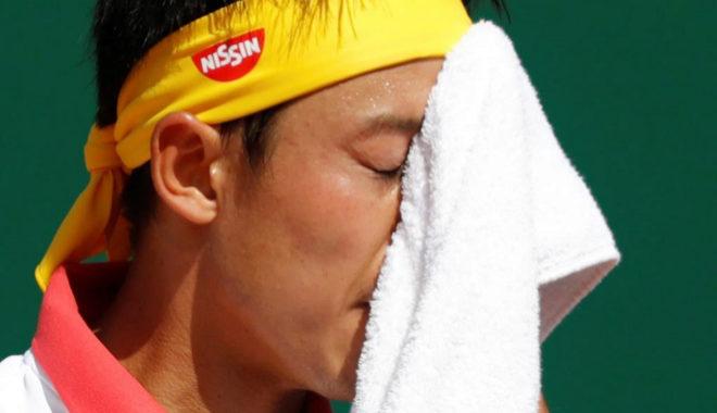 Nishikori se lamenta durante el partido.