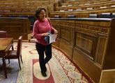 Carolina Bescansa abandona el Hemiciclo tras un pleno del Congreso de...