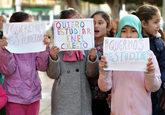 Protesta de niños en Melilla pidiendo ser escolarizados