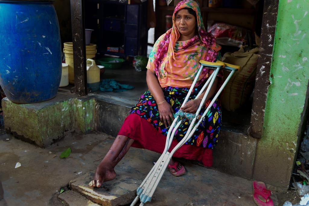 Una mujer herida de por vida en el derrumbe del Rana Plaza en Daca.