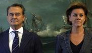 Agustín Conde y María Dolores de Cospedal, en la toma de posesión...