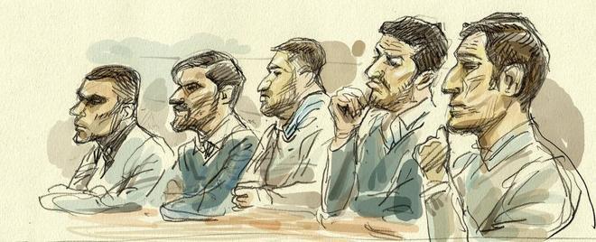 Ilustración de los cinco acusados de La Manada durante el juicio