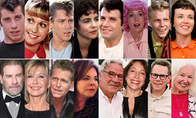 De izquierda a derecha: John Travolta, Olivia Newton-John, Jeff...
