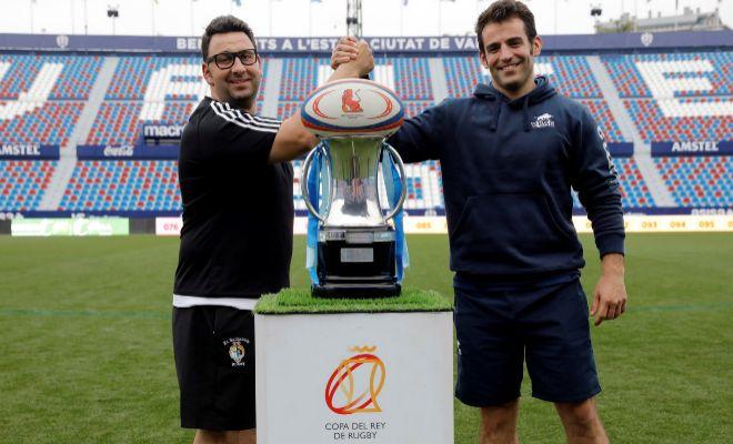 El entrenador del VRAC Entrepinares, Diego Merino y del Silverstorm El Salvador, Juan Carlos Perez ante la Copa del Rey de Rugby.