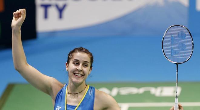 Carolina Marín celebra una victoria, esta semana en el Europeo de Huelva.