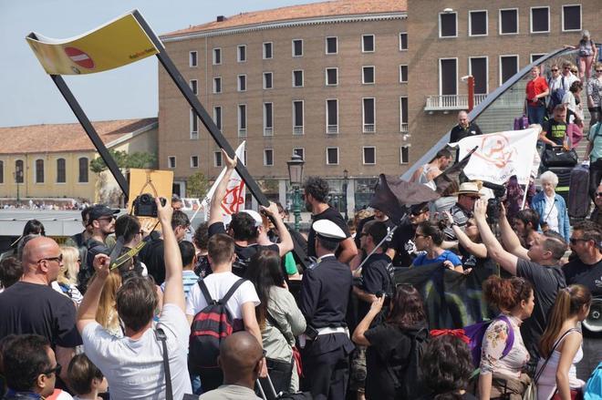Imagen de las protestas en Venecia.