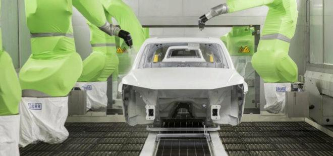 Nave de pintura en la fábrica de Audi en San José de Chiapas (México), la más avanzada del fabricante