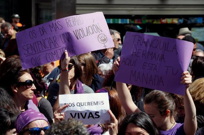 Concentración contra el fallo judicial de La Manada, hoy, en la...