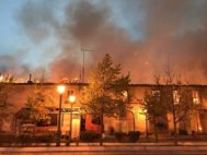 Imagen del incendio en el Palacio de Osuna de  Aranjuez.