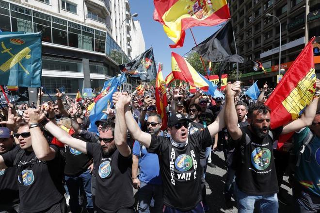 Un momento de la manifestación celebrada esta mañana en el centro de...