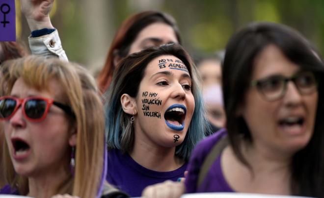 Un momento de la protesta el pasado viernes en Madrid contra la...