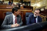 Rafael Catalá, con Mariano Rajoy esta mañana en el Congreso.