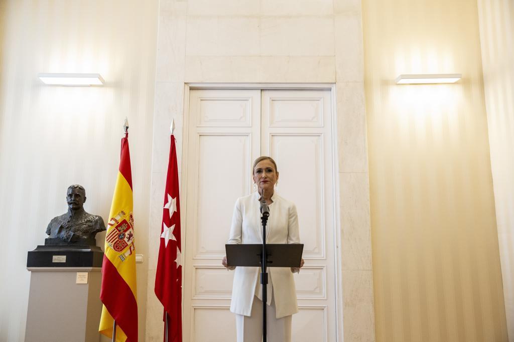 Cristina Cifuentes en la rueda de prensa que anunció su dimisión.